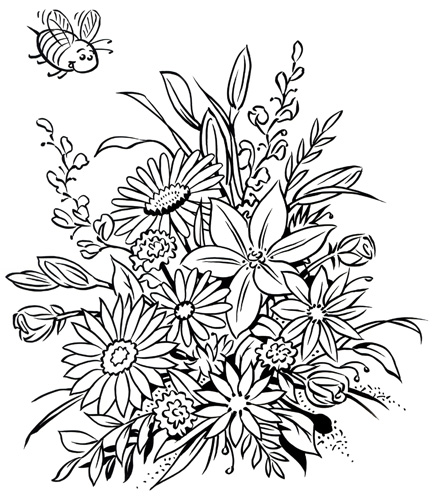 Floral Colouring Book Frame Pages Page